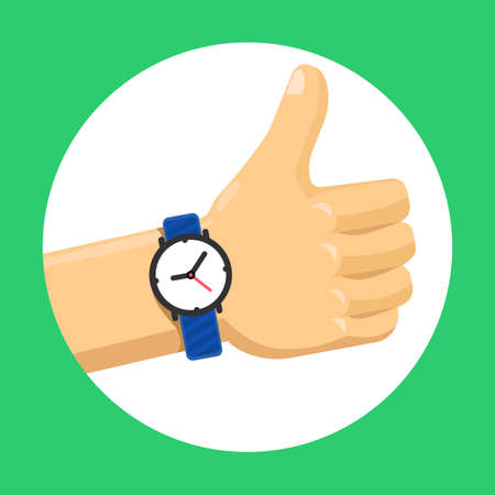 Thumbs up hand flat vector