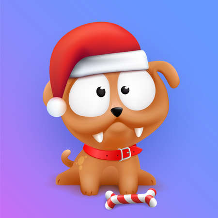 Cute Little Puppy Character Sitting in Wait of 2018 Chinese New Year and Christmas. Color vector illustration on gradient background.
