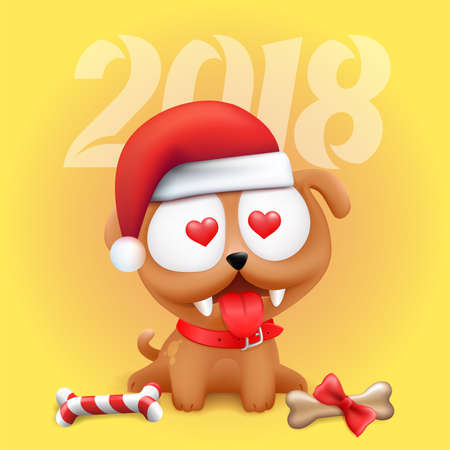 Cute Little Puppy Character in love Sitting in Wait of 2018 Chinese New Year and Christmas with bone lollipop. Color vector Dog illustration on yellow gradient background.