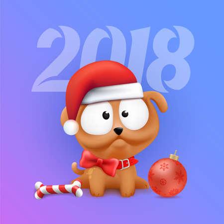 Carina Little Puppy Character seduto in attesa del 2018 Capodanno cinese e Natale. Illustrazione del cane di vettore di colore sulla priorità bassa di gradiente. Archivio Fotografico - 91231128
