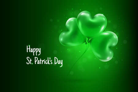 Happy St. Patricks Day Text Greeting with Green Shamrock Clover Balloons on Dark Green Gradient Background Vector Illustration