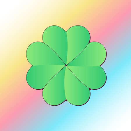 Lucky Four Leaf Clover on Gradient Background Ilustração