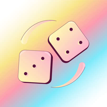 Dropping Dices with three and four numbers Illustration