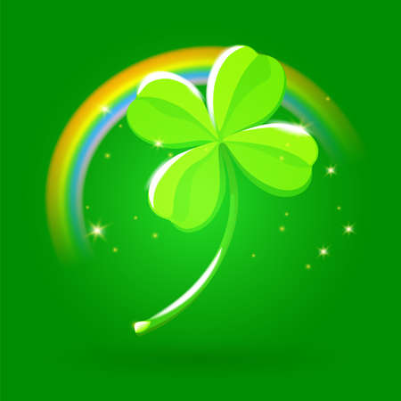 Fortune and Good Luck Metaphor. Lucky Four Leaf Clover Shine and Bright on a Gradient Dark Green Background. Clover with Rainbow Saint Patrick Day symbol. Vector cute illustration. Banque d'images - 124598684