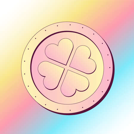 Golden Coin with Four Leave Clover Luck Concept Illustration