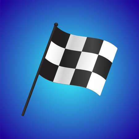Checkered flag vector on gradient blue background Ilustração