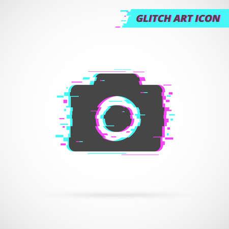 Photo Camera Glitch Art Vector Icon. Banque d'images - 132552450