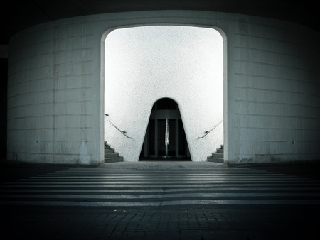 Futuristic Entrance to the parking  photo