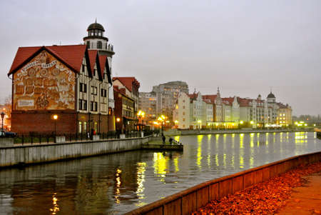 Kaliningrad  Russia - November 17, 2012: Evening view of the city�s embankment. Traces of German heritage can be seen in the surviving riverside Fishing Village, a dining and shopping destination.
