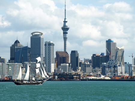 Auckland City, Sky Tower and the Waterfront  New Zealand