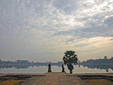 khmer: Lake in front of Sras Srang, Angkor Wat, Siem Reap, Cambodia