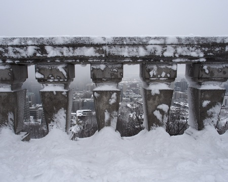 Urban Winter Landscape of Montreal, Canada Stock Photo