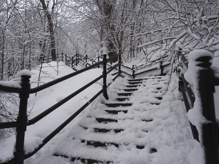 Stairs covered by snow after snow storm  Stock Photo