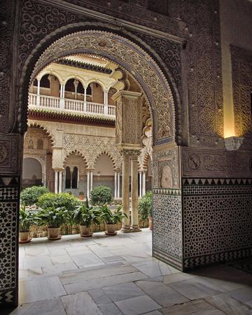 Arabic Arch as seen in Real Alcazar  Seville, Spain, 2013 Editorial
