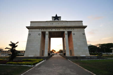 The Independence Square of Accra, Ghana, inscribed with the words Stock Photo