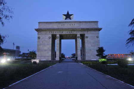 ghana: The Independence Square of Accra, Ghana, inscribed with the words  Freedom and Justice, AD 1957 , commemorates the independence of Ghana, a first for Sub Saharan Africa  It contains monuments to Ghana