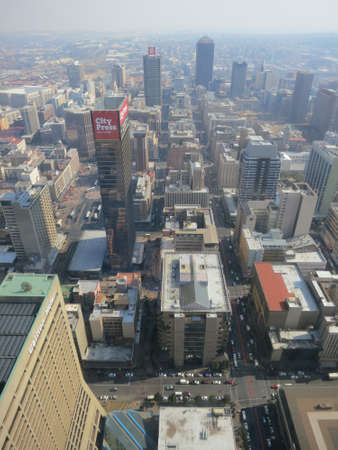 View of the Carlton Centre, 50th Floor, Top of Africa in Johannesburg, South Africa  View of the city