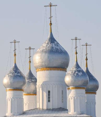 Silver Onion Domes of the Spaso-Yakovlevsky Monastery, Rostov during winter  photo