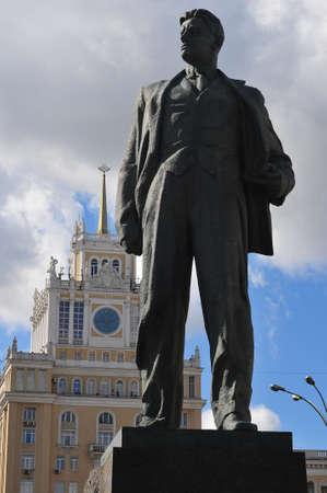 Bronze statue of Vladimir Mayakovsky in Moscow