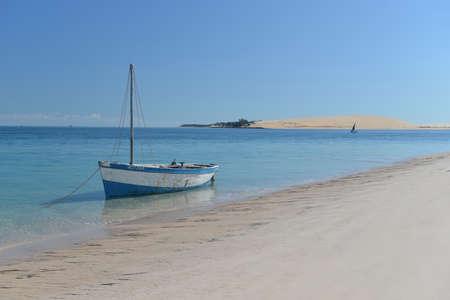 Boat on the shores of Bazaruto Island, Mozambique Stock Photo