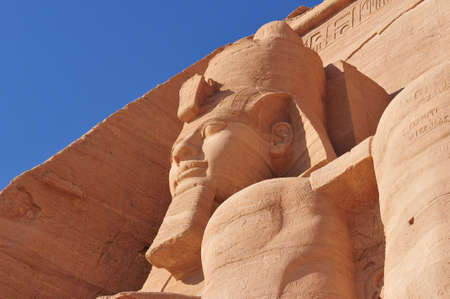 Pharoah Monument from Abu Simbel  The Abu Simbel temples are two massive rock temples in Abu Simbel in Nubia, southern Egypt  Stock Photo