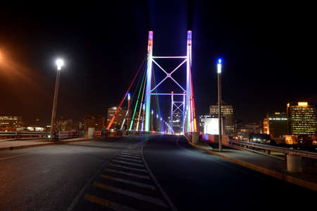 Nelson Mandela Bridge, in Johannesburg, South Africa  The bridge was constructed over 42 railway lines without disturbing railway traffic and is 284 metres long, completed in 2003