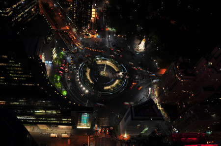View of Columbus Circle from Above at night with views of Central Park and the Monument to the Maine  Stock Photo