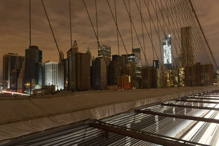 hurricane sandy: View of Lower Manhattan following power outage as a result of Hurricane Sandy from Brooklyn Bridge