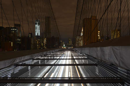 View of Lower Manhattan following power outage as a result of Hurricane Sandy from Brooklyn Bridge