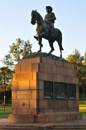 forerunner: Monument to Louis Botha by Union Buildings in Pretoria. He was an Afrikaner and first Prime Minister of the Union of South Africa the forerunner of the modern South African state. Editorial