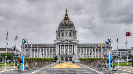 San Franciscos City Hall on a dark cloudy day.