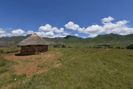 House in the hilly landscape of the Butha-Buthe region of Lesotho.