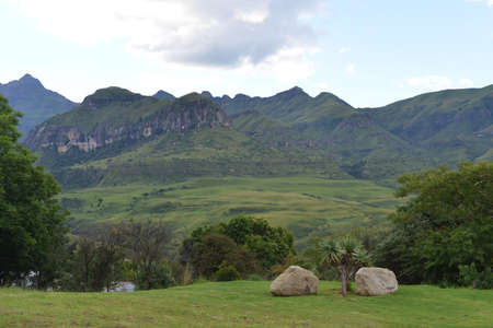 A view upon Cathedral Peak of the Drakenberg Mountain chain in South Africa