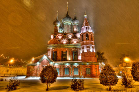 nightshot: Medieval Epiphany Church in Yaroslavl during a winter storm at night  Stock Photo