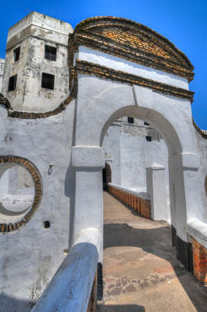 Elmina Castle (also called the Castle of St. George) is located on the Atlantic coast of Ghana west of the capital, Accra.