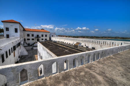 Elmina Castle  also called the Castle of St  George  is located on the Atlantic coast of Ghana west of the capital, Accra