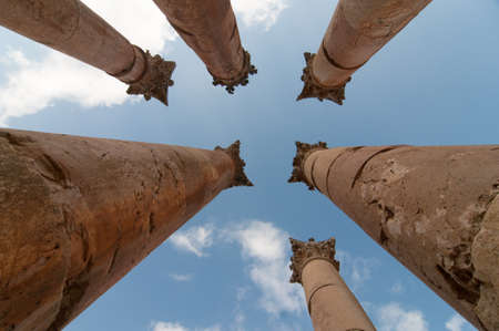 antiquity: Temple of Artemis in Jerash, the Gerasa of Antiquity Stock Photo