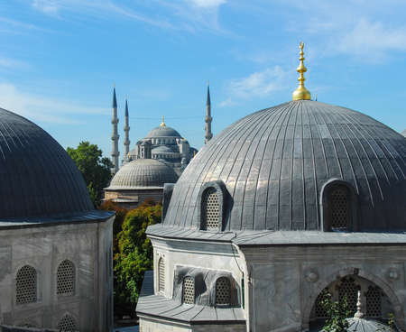 View of the Blue Mosque during Ramadan as seen from Hagia Sophia during the day  photo