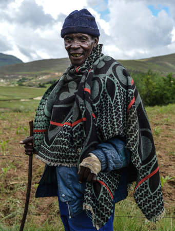 Butha-Buthe, Lesotho - December 17, 2012  A local Basotho man in traditional garb  Also known as the Blanket People, they are renowned for the colorful blankets that they wear