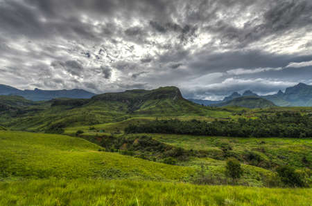 kwazulu natal: Dramatic view of the hills of the Drakensberg Range in the Giants Castle Game Reserve, KwaZulu-Natal, South Africa