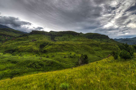 kwazulu natal: Dramatic views of the hills of the Drakensberg Range in the Giants Castle Game Reserve, KwaZulu-Natal, South Africa  Stock Photo