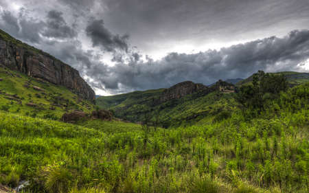 rolling landscapes: Dramatic view of the hills of the Drakensberg Range in the Giants Castle Game Reserve, KwaZulu-Natal, South Africa