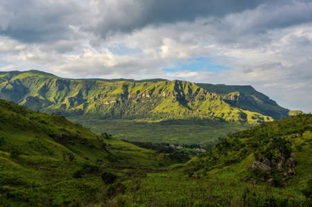 Dramatic view of the hills of the Drakensberg Range in the Giants Castle Game Reserve, KwaZulu-Natal, South Africa