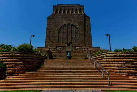 boer: The Voortrekker Monument is located just south of Pretoria in South Africa  This massive granite structure is prominently located on a hilltop, and was raised to commemorate the Voortrekkers who left the Cape Colony between 1835 and 1854  Stock Photo