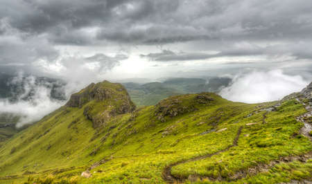 kwazulu natal: View of the Drakensberg Mountains along the Amphitheater in Royal Natal National Park  Stock Photo