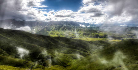 View of the Drakensberg Mountains along the Amphitheater in Royal Natal National Park  Stock Photo