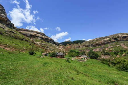 landlocked: Native hut in the hilly landscape of the Butha-Buthe region of Lesotho  Lesotho, officially the Kingdom of Lesotho, is a landlocked country and enclave