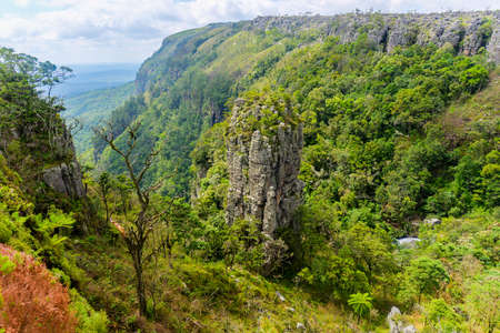The Pinnacle Rock, a tower-like freestanding quartzite buttress which rises 30 m above the dense indigenous forest in Mpumalanga, South Africa
