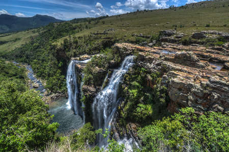 Lisbon Falls is the highest waterfall in Mpumalanga, South Africa  The waterfall is 94 m high and named for the capital city of Portugal  The waterfall lies on the Panorama Route  Stock Photo