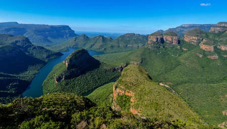 rivers mountains: Blyde River Canyon and The Three Rondavels  Three Sisters  in Mpumalanga, South Africa  The Blyde River Canyon is the third largest canyon worldwide